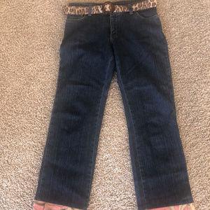 3 Sisters Deco Hem Boho Jeans - Leopard and Pink